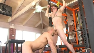 Tiedup stud gets flogged and cocksucked