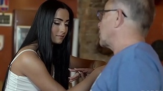 DADDY4K. Young girl and boyfriend'_s daddy embark sensual sex in bar