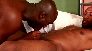 Black hunk pounds tight ass against the wall