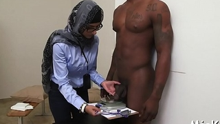 Black and white dongs get jerked by a sexual and busty arab babe