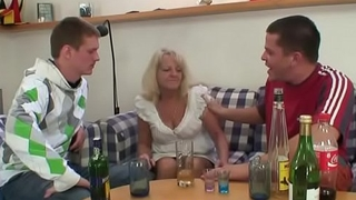 Duo buddies fuck boozed old blonde granny