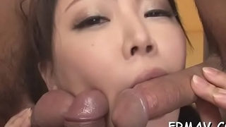Sweet oriental darling gets lusty drilling for will not hear of flossy slit