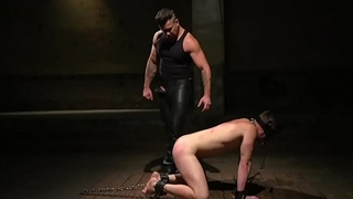 Submissive stud tormented by master