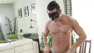 Masked muscular hunk loves to jerk off his huge flannel on chair
