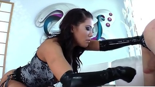 Busty Domina Fingers Her Sub While He Cums