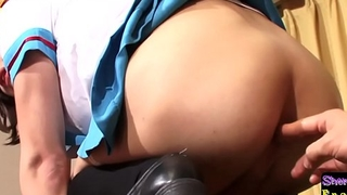Cosplay ladyboy anally fingered before sex
