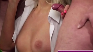 Smalltit UK beauty gets double facialized