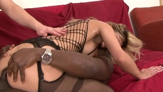 Filthy DP blonde Klarisa Leone takes a black cock with a white cock in her arse