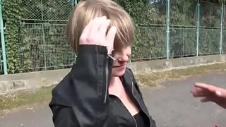 Short hair milf convinced to fuck