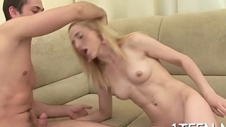 Charming darling gets her sexy cunt pounded untill sated