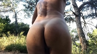 Fucking my pussy boy ass in the woods