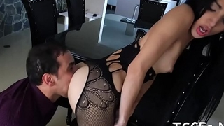 Cock-craving ladyboy doxy cannot stop bouncing on this dick