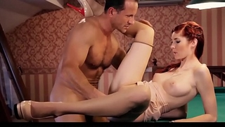 PINUP SEX - Coarse redhead Kattie Gold fucked on the pool table