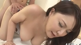 Fascinating asian enjoys lusty snatch shaving before rough butt slam