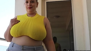 Huge tits SweetHart Mia shows her boobs public on balcony