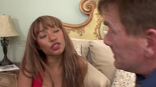 Sugar pop cums on ebony chick Bella Moretti'_s nice tits after drilling her upon his room