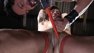 BDSM sub dicksucked and tugged by dom hunk